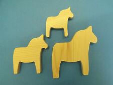 Set of 3 pine wooden Dala horse Swedish Christmas decopatch pyrography paint