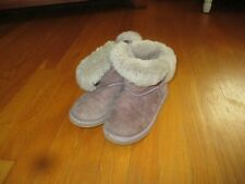 Girls UGGS Lavender Gray Sheepskin Fur Lined Leather Boots Size 1K 1