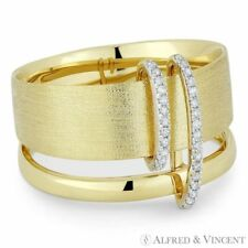 Yellow Gold Right-Hand Thick Double-Band Ring 0.10 ct Round Cut Diamond Pave 14k