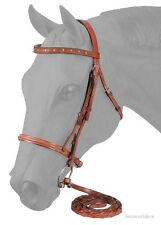 English Snaffle Bridle-Reins - Medium Chestnut Raised Leather - Crystal Browband
