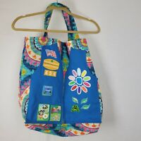 Large Colorful Flowered Tote Bag Girl Scout Daisy Vest Applique Patches