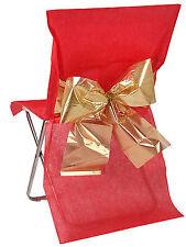 4 Stuhlhussen Einweg Rot mit goldener Schleife 50x95cm Weihnachten Deko Hochzeit