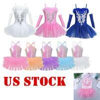 Girls Sequins Ballet Dance Dress Kids Leotard Ballerina Performance Dancewear US