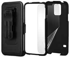 BLACK CASE + BELT CLIP HOLSTER + SCREEN PROTECTOR FOR SAMSUNG GALAXY S5 S 5