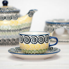 Bunzlauer Keramik Tasse mit Untertasse 200ml CZZC Unikat Modern