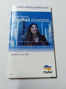 CITYRAIL NSW TIMETABLE RAILWAYS TRAIN DATED 2004 EASTERN SUBS ILLAWARRA LINE