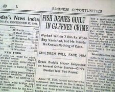 ALBERT FISH Serial Killer Child Rapist Cannibal re. ARREST 1935 NYC Newspaper