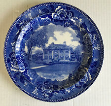 Wedgwood Blue & White Historical Longfellow'S House 1843 Transfer Ware Plate