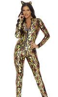 Sexy Seductive Stripes Tiger Print Catsuit Jumpsuit Costume 2pc 553719