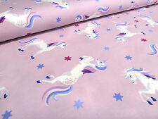 Stoff Baumwolle Jersey Einhorn Unicor Sterne flieder bunt Kinderstoffe