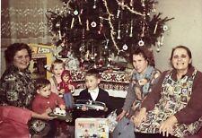 VTG 1966 Color PHOTO Children Family Xmas Tree Dolls Toy Cars Mid Century Modern