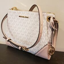 Michael Kors Nicole Large Triple Compart Crossbody Bag MK Vanilla Pink Blossom