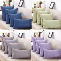 New Cotton Solid color Linen Pillow Case Sofa Throw Cushion Cover Home Decor