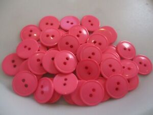 LOT OF 50 PINK COLOR 11/16 INCH 2 HOLE BUTTONS, NEW