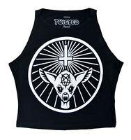 Twisted Yahgrrmr Womens Crop Top Bambi Girls Vest Occult Gothic Cute Pentagram