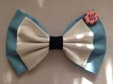 ♥HANDMADE ALICE IN WONDERLAND COTTON FABRIC HAIR BOW COSPLAY KAWAII CUTE