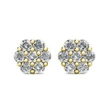 1Ct Natural Diamond Flower Shaped Halo Cluster Stud Earrings 14K Yellow Gold 7mm