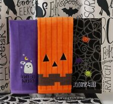 Set/3 Hand Towels Pumpkin Face~Wicked Ghost~Spider Web 16x25 NWT Happy Haunting!