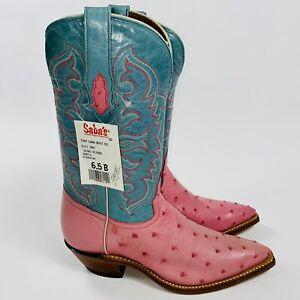 Tony Lama Ostrich Leather Pink Blue Women's Cowboy Boots USA Size 6.5 B EUC