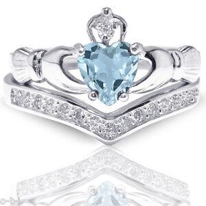 Aquamarine Claddagh Heart Simulated Diamond Celtic Sterling Silver Ring Set