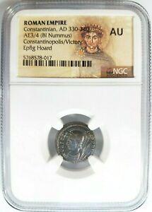 Constantinian Roman Empire BI Nummus AE3/4 NGC AU Ancient Epfig Hoard Victory