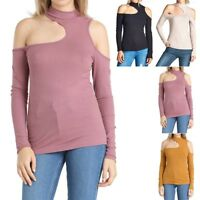 Women's Ribbed Long Sleeve Cold Shoulder Mock Neck Top Casual S M L
