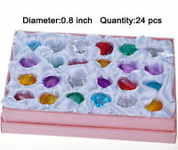 24PCS Mix Color Crystal Diamond Shape Wedding Favor Decor Paperweight Gift 20mm