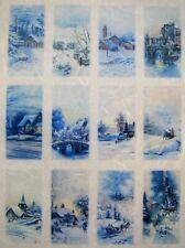Rice Paper for Decoupage Scrapbook Craft Winter Landscape Village Labels 257