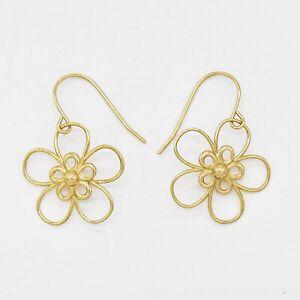 14k Yellow Gold Estate Open Flower Dangle/Drop Earrings