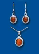 Amber Pendant and Drop Earrings Set Solid Sterling Silver Natural Stones