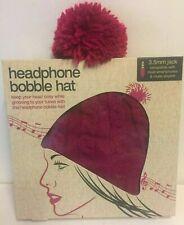 Pink Headphone woolly Bobble Hat with Built In Headphones Speakers - BNIB
