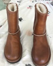 UGG Australia Classic Short Leather Chestnut Brown Fur Boots Womens New 7