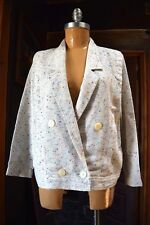 Vintage Womens White Speckled Multi-Color Knit Blazer Jacket Size S-M