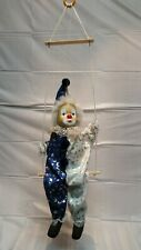 Vintage Clown on a Swing Circus Marionette Puppet with Porcelain Head