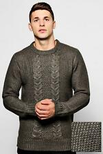 2ff13cf7053326 Mens Boohoo Crew Neck Jumper With Cable Knit Front Khaki Large Cs171 HH 07