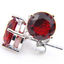 8MM Round Cut Fire Red Garnet Gemstone Silver Stud Earrings