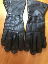 Hugger GAUNTLET Black Leather Riding Gloves Large Motorcycle