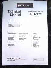 ROTEL TECHNICAL (service) MANUAL for RB-971 Stereo Power Amplifier