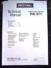 Rotel tecnica (SERVICE) MANUALE PER RB-971 AMPLIFICATORE STEREO