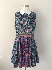 New Mary Katrantzou White Collared Sleeveless Black Floral Chain Print Dress 10