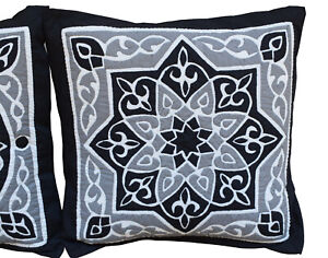 Set of 2 Egyptian Handmade Applique Cushion Covers, Decorative Pillow Covers