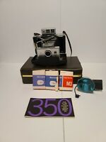 VINTAGE POLAROID LAND CAMERA Model #350 w/Flash Unit and Carry Case and Bulbs