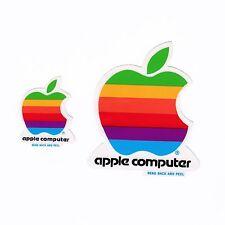 Rainbow APPLE COMPUTER DECAL   2 Stickers   Original Bag   Vintage 1980s