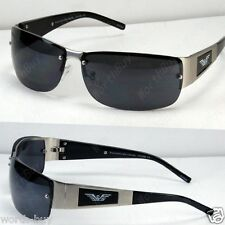 New Mens Rectangular Sunglasses Shades Metal Wrap Around Black Designer Fashion
