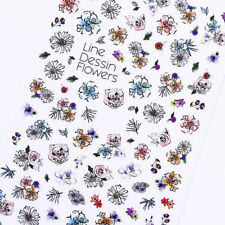 2 Sheets Flower 3D Nail Sticker Floral Nail Art Adhesive Transfer Sticker Decals