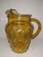Depression Amber Glass Water Pitcher With Ice Lip