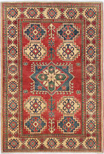 4X6 Hand-Knotted Kazak Carpet Tribal Red Fine Wool Area Rug D48570