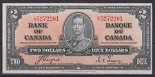 1937 BANK OF CANADA $2 DOLLAR L/R 5272201 BC-22c SCARCE PRE GEM UNC CRISP NOTE