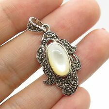 Vtg 925 Sterling Silver Real Mother-Of-Pearl Marcasite Gemstone Pendant