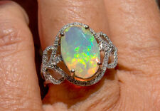 Stunning Large 14K WG Top Grade Multi-colored Opal and Diamond Ring , sz 6.75